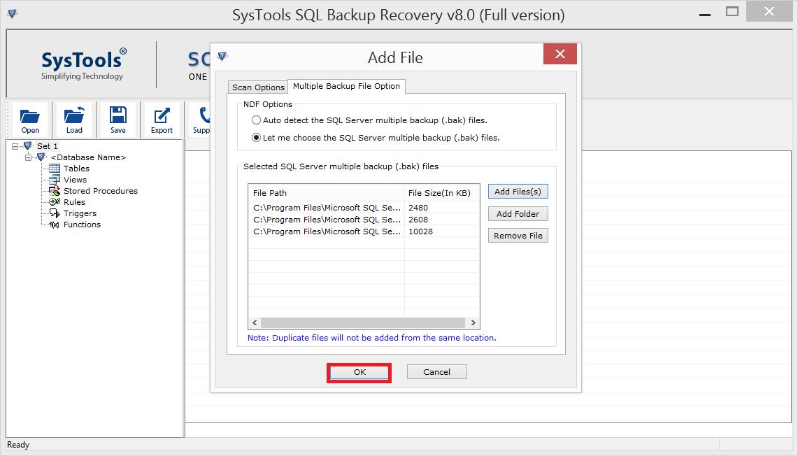 Select SQL .bak File