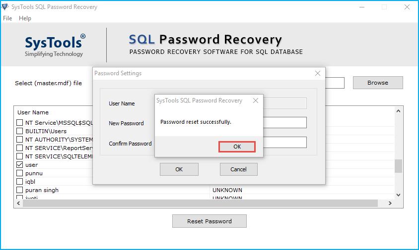 reset sql sa password successfully