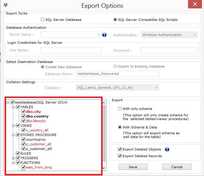 Select database components