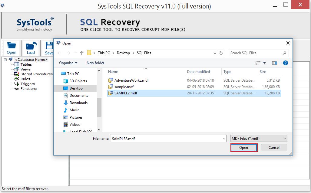 Import SQL MDF File