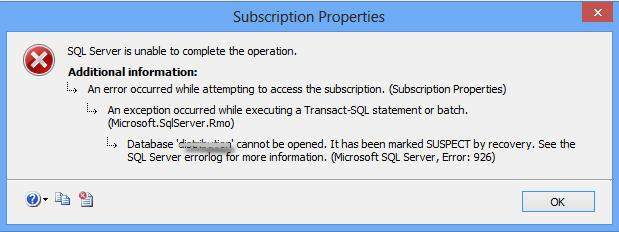 sql suspect error